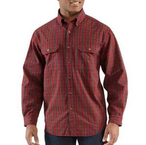 Carhartt 100123-640 Medium Dark Red Fort Plaid Long Sleeve Shirt
