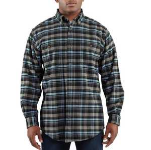 Carhartt 100124-412 Medium Navy Trumbull Plaid Long Sleeve Shirt