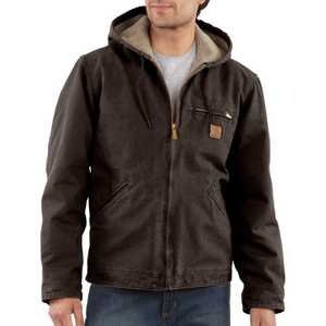Carhartt J141DKB Small Dark Brown Sandstone Sierra Jacket With Sherpa Lining
