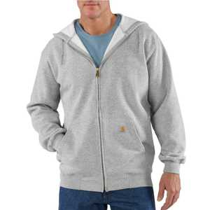 Carhartt K122HGY Medium Heather Gray Midweight Hooded Zip-Front Sweatshirt
