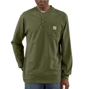 Carhartt K128ARG Large Army Green Long Sleeve Workwear Henley T-Shirt