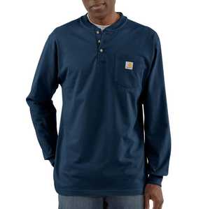 Carhartt K128-NVY Small Navy Long Sleeve Workwear Henley T-Shirt