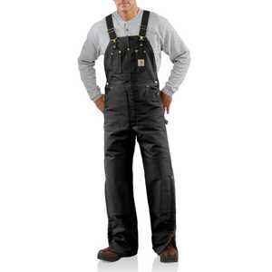 Carhartt R02BLK 50-Inch X 32-Inch Black Quilt Lined Bib Overall