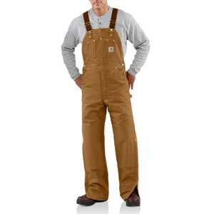 Carhartt R02BRN 46-Inch X 30-Inch Brown Quilt Lined Bib Overall