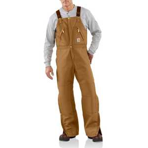 Carhartt R38BRN 46-Inch X 34-Inch Carhartt Brown Duck Zip-To-Waist Bib Overall With Quilt Lining