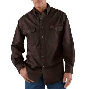 Carhartt S09DKB Medium Dark Brown Sandstone Twill Shirt