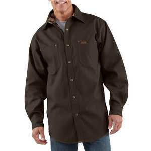 Carhartt S296DKB Small Dark Brown Canvas Shirt With Flannel Lining