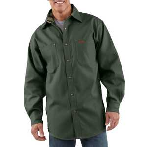 Carhartt S296MOS Medium Moss Canvas Shirt With Flannel Lining