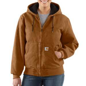 Carhartt WJ130211 Ladies' Small Carhartt Brown Sandstone Active Jacket With Quilted Flannel