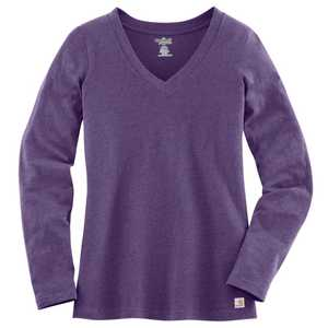 Carhartt WK114GPH Ladies' Small Grape Heather Lightweight V-Neck T-Shirt