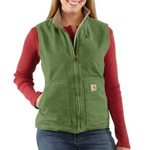 Carhartt WV001394 Ladies' Small Green Mock Neck Vest With Sherpa Lining