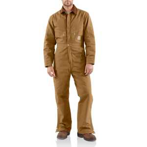 Carhartt X01BRN 38-Inch Brown Duck Coveralls With Quilt Lining