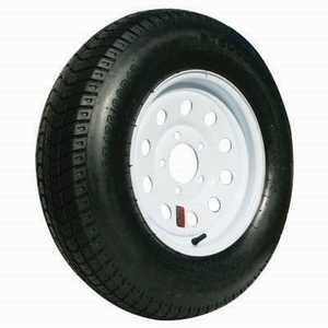 Carry-On Trailers 175x13 13 in Tire With White Mod Wheel 175x13-80d13