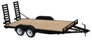 Carry-On Trailers 7X16APFTSR1BRK 7 ft X 16 ft Wood Floor Trailer With Slide In Ramps