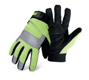 CAT CAT012214L High Visibility Fluorescent Green Padded Palm Utility Glove With Adjustable Wrist Size Large