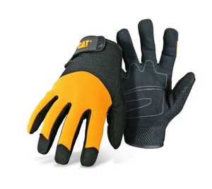CAT CAT012215J Black And Yellow Padded Palm Utility Glove With Mesh Back And Adjustable Wrist Size Jumbo