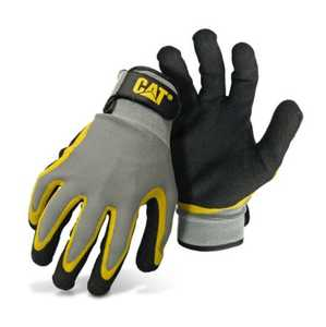 CAT CAT017415L Black And Gray Poly/Cotton Glove With Double Coated Latex Palm Size Large