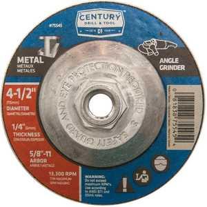 Century Drill & Tool 75545 4-1/2 x 1/4 in Metal - Type 27 Depressed Center Grinding Wheel