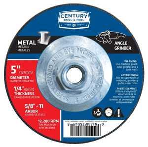 Century Drill & Tool 75547 5 x 1/4 in Metal - Type 27 Depressed Center Grinding Wheel