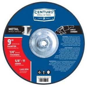 Century Drill & Tool 75592 9 x 1/4 in Metal - Type 27 Depressed Center Grinding Wheel