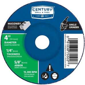 Century Drill & Tool 75502 4 x 1/4 in Masonry - Type 27 Angle Grinder Cutting Wheel