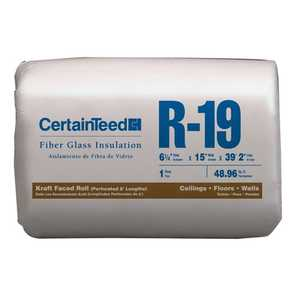 Certainteed 990105 Fiberglass Insulation R19 Kraft-Faced Roll 6-1/4x15