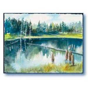 Debra Sutherland 28 in x 22 in Big Sky Lake Watercolor Print