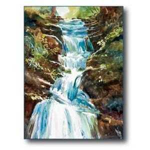 Debra Sutherland 22 in x 28 in Falls Watercolor Print