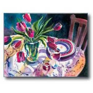 Debra Sutherland 28 in x 22 in Tulip Table Watercolor Print
