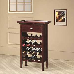 Coaster 100164 16 Bottle Wine Rack With Serving Tray Top