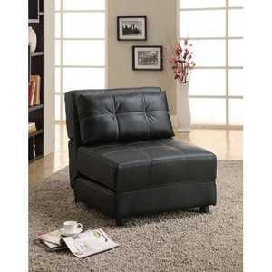 Coaster 300173 Black Leatherette Armless Lounge Chair