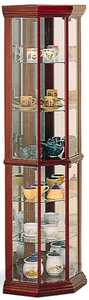 Coaster 3393 Solid Wood Cherry Glass Corner Curio Cabinet
