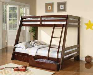 Coaster 460228 Twin Over Full Cappuccino Bunk Bed With 2 Storage Drawers
