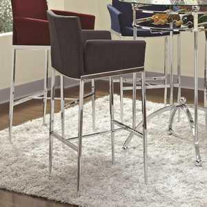 Coaster 120727 Charcoal Linen Fabric Bar Stool