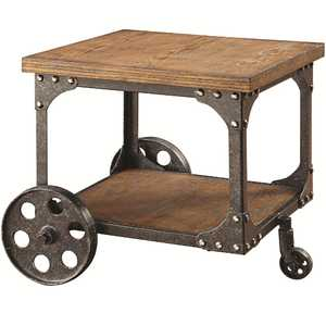 Coaster 701127 Rustic Brown End Table With Shelf