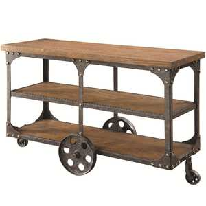 Coaster 701129 Rustic Brown Sofa Table With 2 Shelves