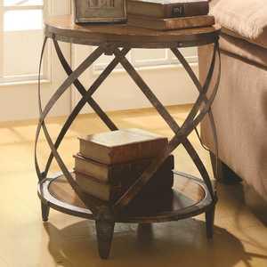 Coaster 903326 Brown Metal Drum Shape Accent Table With Wooden Top
