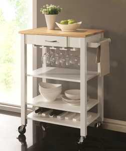 Coaster 910025 Cart Kitchen Ntrl/Wht