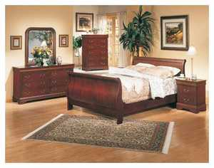 Coaster 3981Q Queen Louis Philippe Style Sleigh Bed