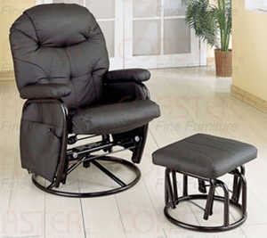 Coaster 7291 Black Deluxe Swivel Glider With Matching Ottoman