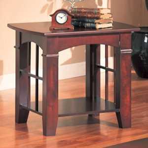 Coaster 700007 Cherry Abernathy End Table With Shelf