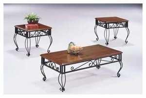 Coaster 5462 3-Piece Rustic Oak Wooden Occasional Table Set