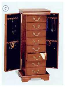 Coaster 3988 Jewelry Armoire Louis Philippe Cherry Finish