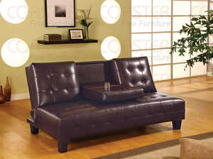 Coaster 300153 Armless Convertible Sofa Bed With Drop Down Console