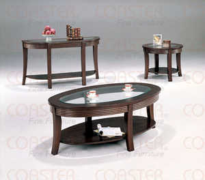 Coaster 5525 Cappuccino Ribbed Apron Coffee Table With Glass Top