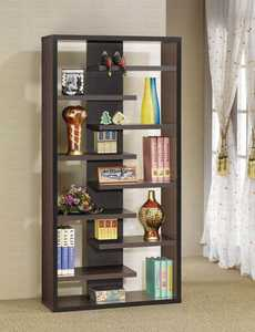 Coaster 800265 Interjecting Shelf Bookcase With Center Back Panel