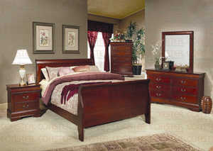 Coaster 200431Q Louis Philippe Queen Cherry Sleigh Panel Bed