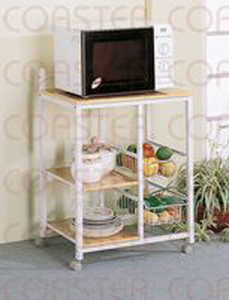 Coaster 2506 Kitchen White Serving Cart With 3 Shelves & 2 Storage Compartments