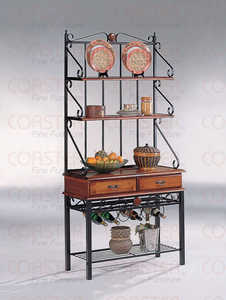 Coaster 5424 3 Shelf Kitchen Cabinet With Wine Rack