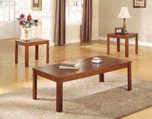Coaster 700570 3-Piece Pine Veneer Casual Occasional Table Set